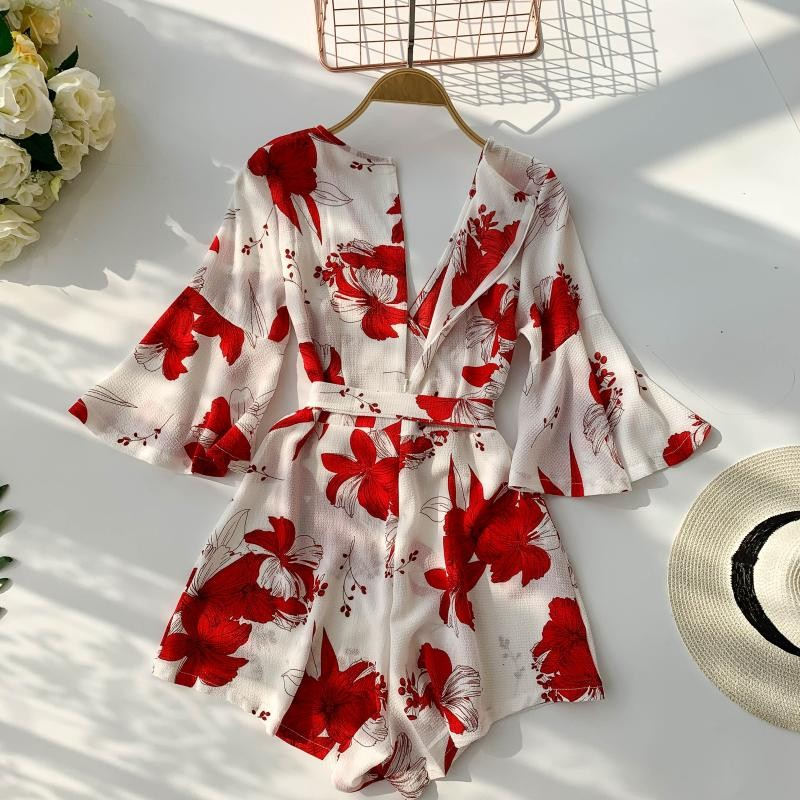 Women Strap Backless Short   Jumpsuits   2019 New Fashion Back Bow Flare Leg Playsuit Bohemian Workplace Loose   Jumpsuit