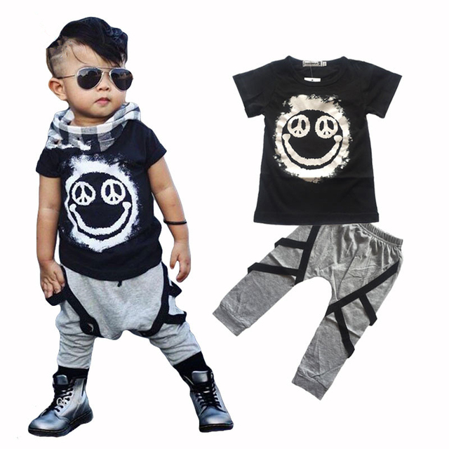 4b151694 New 2017 summer Kids boy clothes set cotton printing t-shirt+pants 2pcs  Outfits Set fashion children clothing set