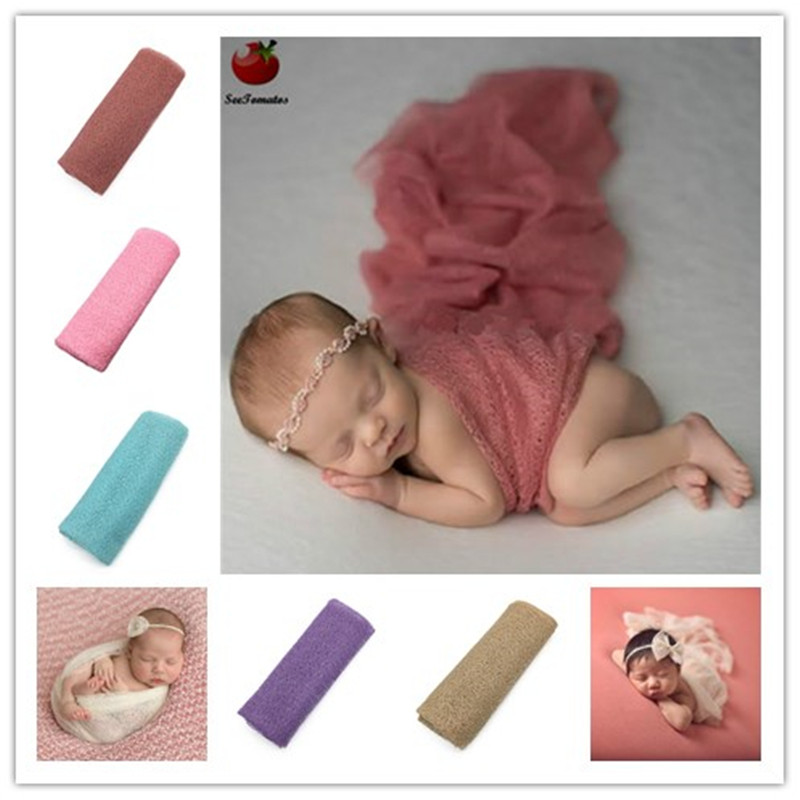 Newborn photography props mohair Acrylic stretchy knit wrap newborn-photography-props blanket wraps baby wrap-newborn scarf(China)