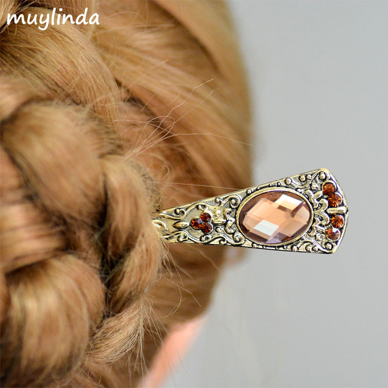 Vintage Crystal Hair Stick Pin Metal Bronze Hairpin Hair Clip Jewelry Retro Banquet Hairpins Women Bridal Hair Accessories