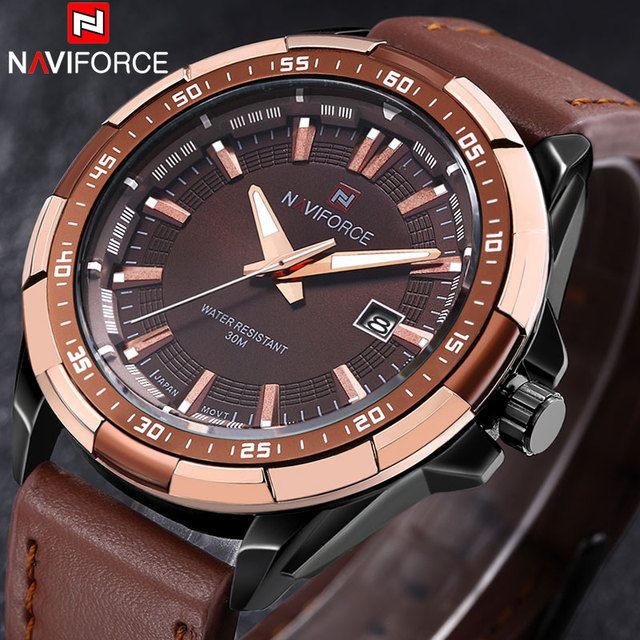 NAVIFORCE Watches Leather Waterproof Analog Watches
