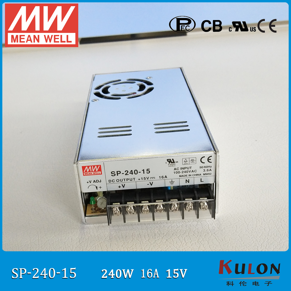 Original MEAN WELL SP-240-15 single output 16A 240W 15V meanwell Power Supply 110V/220VAC to 15VDC with PFC function PF>0.95 [cb]mean well original sp 240 15 3pcs 15v 16a meanwell sp 240 15v 240w single output with pfc function power supply