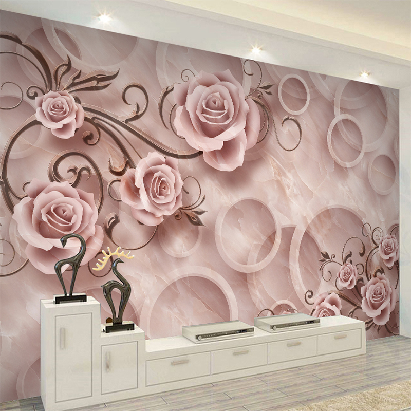 Custom 3D Emboss Texture Marble Stereo Rose Wall Cloth Wallpaper For Living Room Background Wall Home Decor 3D Mural Wall Paper