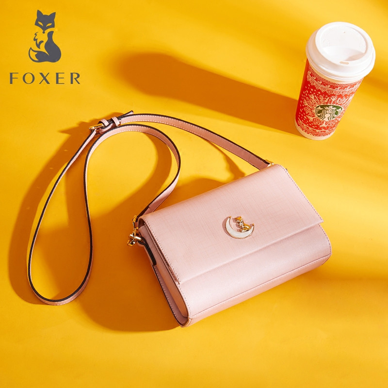 FOXER Brand Women's Flap Bag Cow Split Leather Ladies Crossbody Bag Fashion Shoulder Bag Classic Messenger Bags for Girl foxer women s split leather handbag female new fashion shoulder bag ladies versatile crossbody bag small flap bag for girl