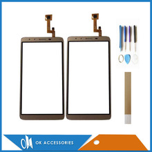 For JIAKE M10 Touch Screen Digitizer Sensor Glass Panel Black Gold Color With Tools Tape