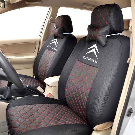 где купить  grey/red/black silk breathable Embroidery logo Car Seat Cover For CITROEN C Quatre C Elysee C1 C2 C3 C5 with 2 neck  дешево