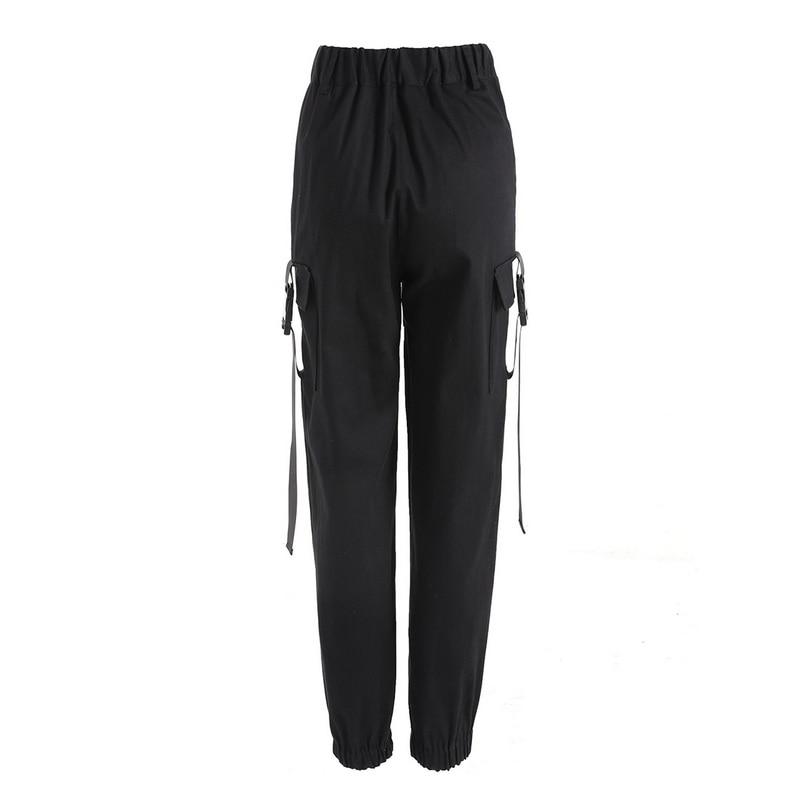 ADISPUTENT Streetwear Cargo Pants Women Casual Joggers Black High Waist Loose Female Trousers Korean Style Ladies Pants Capri 23