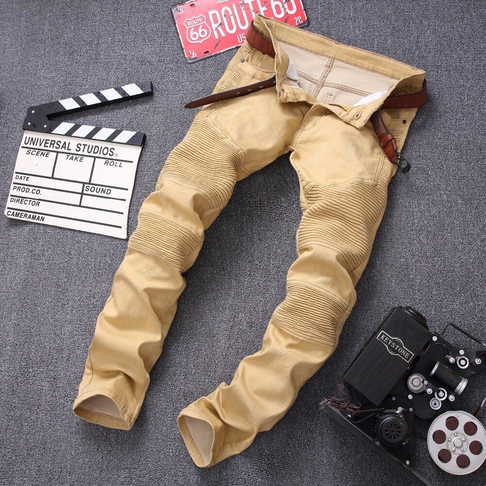 2016 fashion Jeans Men Runway Biker Homme Jeanswear Skinny Slim Denim Trousers Cowboy Famous Brand Zipper Designer Men's Pants 2017 fashion patch jeans men slim straight denim jeans ripped trousers new famous brand biker jeans logo mens zipper jeans 604