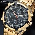 BOAMIGO מותג שעונים צבאיים גברים ספורט שעונים תאריך אוטומטי הכרונוגרף זהב פלדה הדיגיטלי קוורץ שעוני יד Relogio Masculino