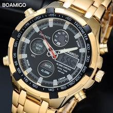 BOAMIGO ブランドは、軍事男性スポーツ時計自動日付クロノグラフゴールド鋼腕時計レロジオ Masculino