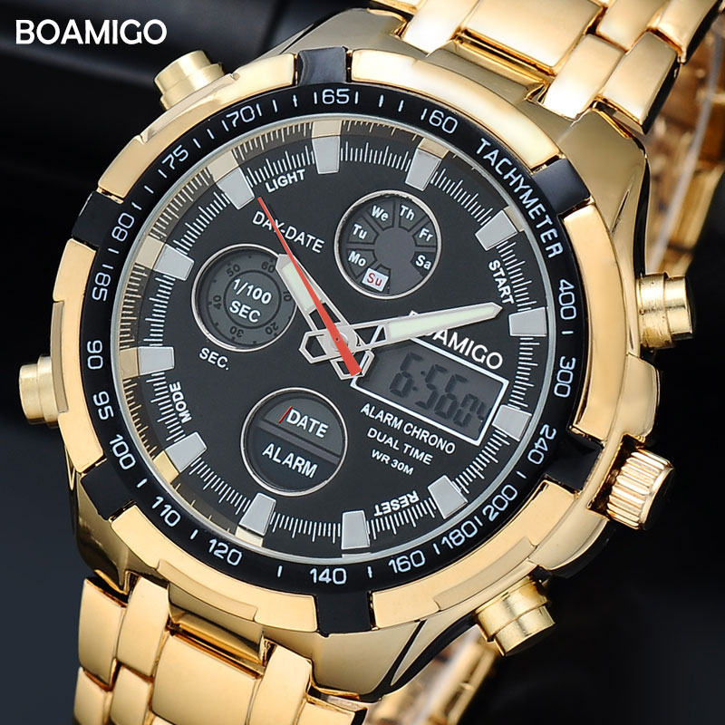 BOAMIGO Brand Watches Military Men Sport Watches Auto Date chronograph gold Steel Digital Quartz Wristwatches Relogio Masculino