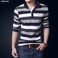 striped polo homme long sleeve polo men 3 color embroidery turn down collar pique breathable cotton slim button great quality805