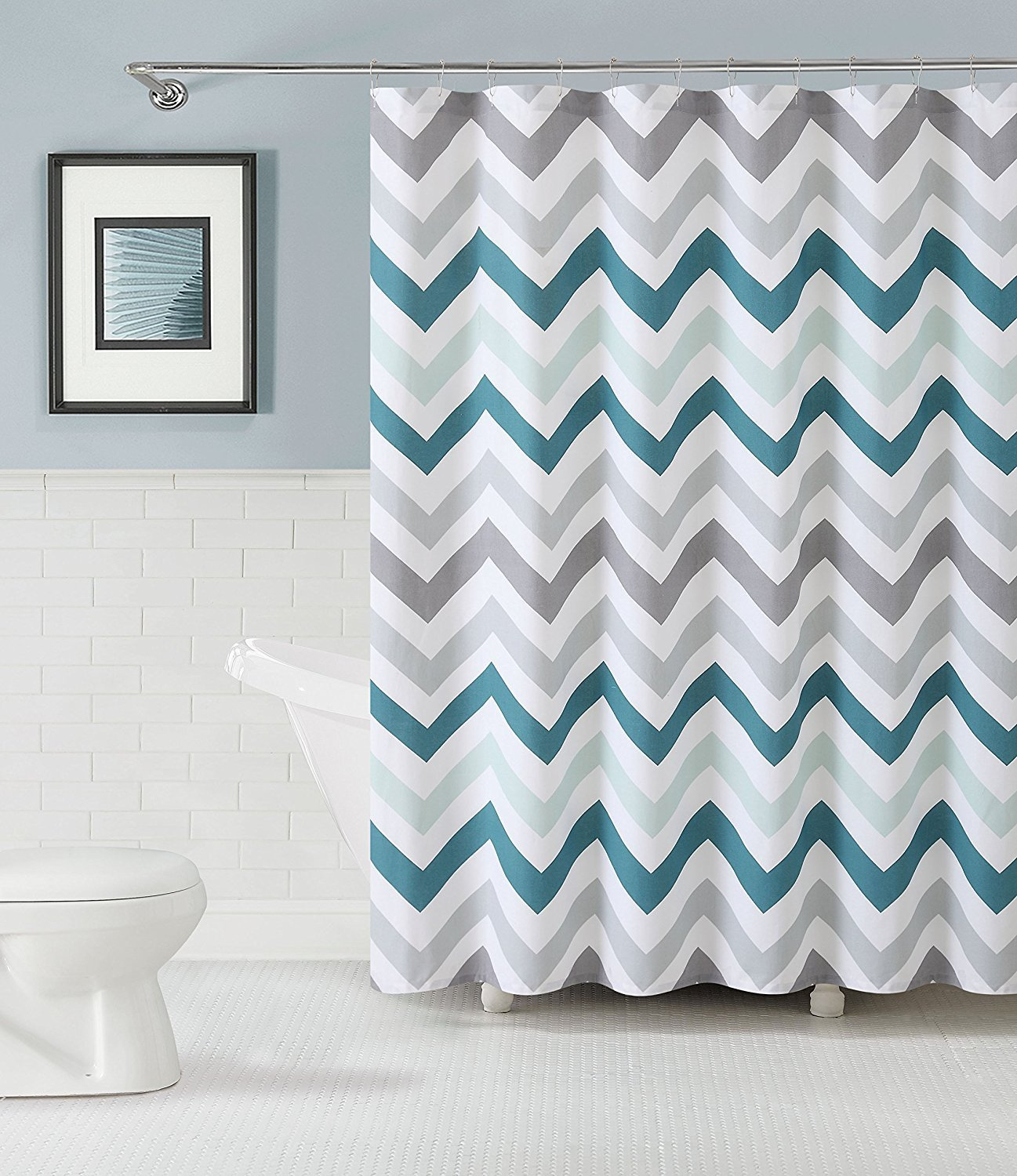 Aqua Chevron Shower Curtain - Memory home chevron cotton fabric shower curtain design pattern polyester fabric bathroom shower curtain with hooks