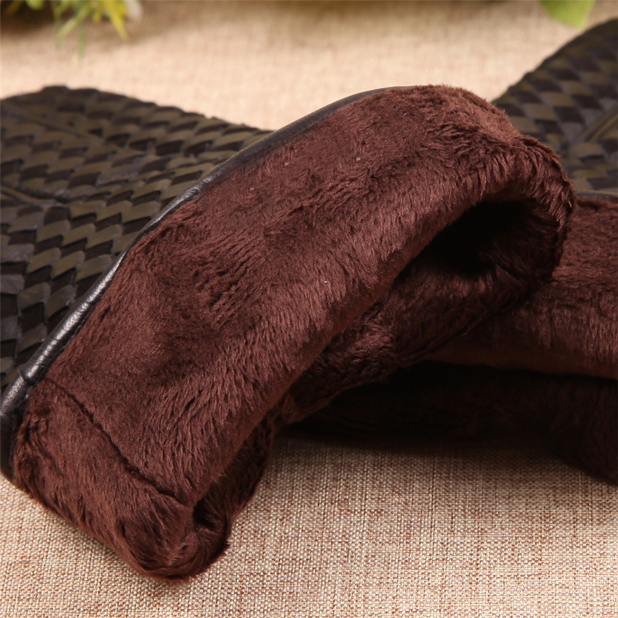 High Quality Business Genuine Leather Gloves Men Goatskin Glove Autumn Winter Plus Thermal Velvet Fashion Woven Plaid EM019NC 5 in Men 39 s Gloves from Apparel Accessories