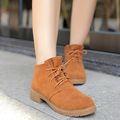 Hot Sales Boots Fashion Shoes Women Nubuck Leather Round Toe Lace-up Solid Casual Ladies Shoes Sapatos Femininos Size 36-39