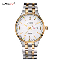 LONGBO Casual Stainless Steel Couple Quartz Watches Reloj Masculino Lovers Wristwatch With Date Calendar And Waterproof