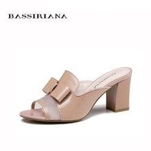 Босоножки на каблуке Лето 2017 Натуральная лакированная кожа Розовый Черный Русские размеры 36-41 Открытый носок Удобная колодка Бесплатная доставка BASSIRIANA