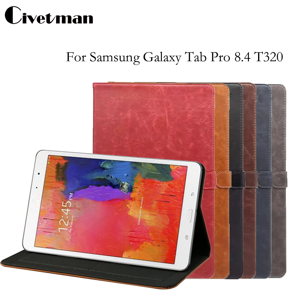 Luxury Retro Crazy Horse Pattern For GALAXY Tab Pro 8.4 T325 PU Smart Wake Up Flip Case for Samsung Galaxy T320 T321
