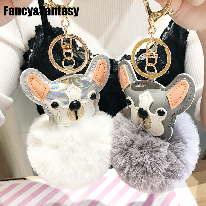 Fancy&Fantasy New Cute Animal Pom Pom Ball Key Chain Faux Rabbit Fur Pompom Dog Keychain Bag Charms Key Ring Llaveros Para Mujer