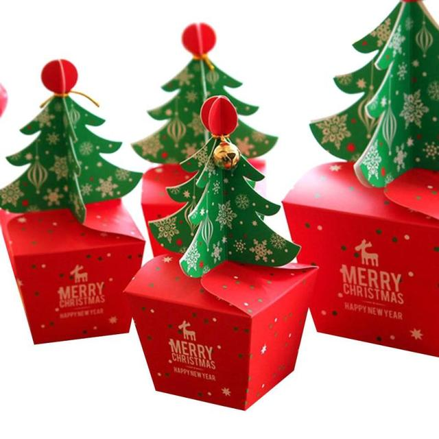 10 pcs Christmas Tree Candy Paper Box Gifts Chocolate Cookie ...