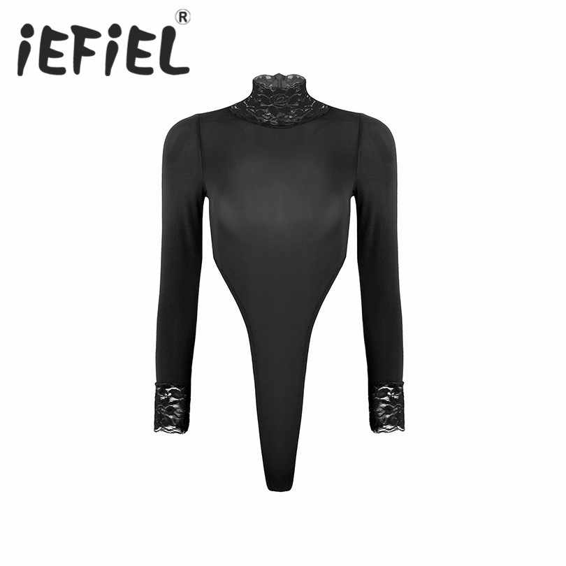 iEFiEL Womens One Piece Turtleneck Long Sleeve Lingerie High Cut Thong Leotard Bodysuit
