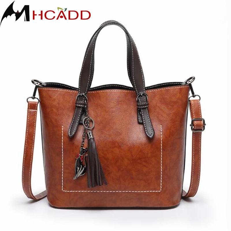 MHCADD 2018 New Designer Women Handbags Tassel High Quality PU Leather  Women Bag Female Leisure Solid Women Bags Tote Bolsas