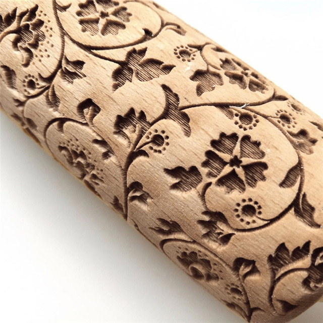 brixini.com - Engraved Carved Wood Rolling Pin