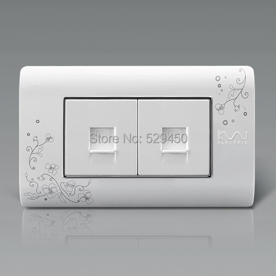 Free Shipping, Kempinski Luxury Double Computer Socket, Wall Dual Internet Outlet, Ivory White,118mm*72mm,  AC 110~250V