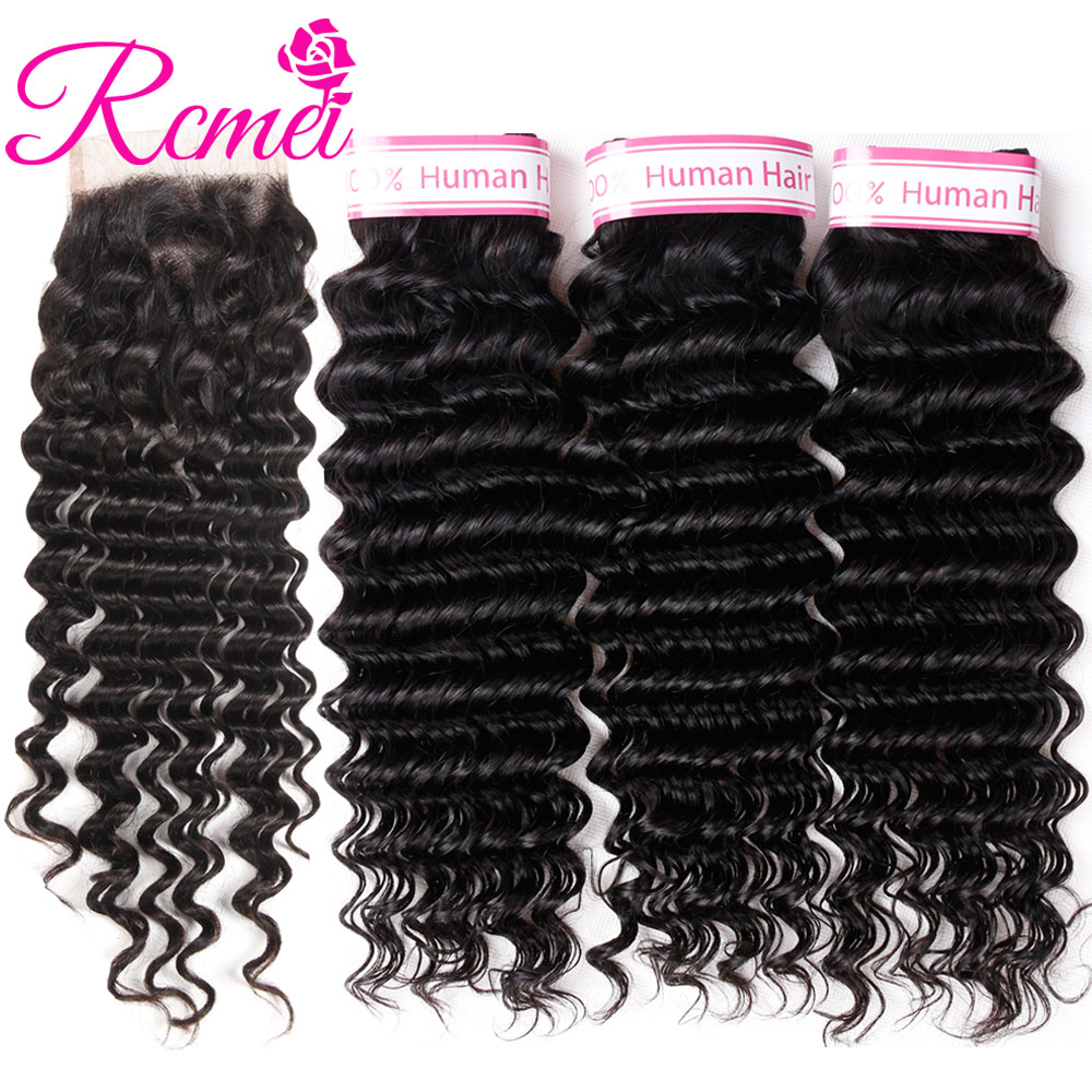 Pre-Colored Hair Weave Peruvian Deep Wave 3 Bundles Deal With Closure Natural Black Curly Hair Bundle With Clousre NonRemy Rcmei