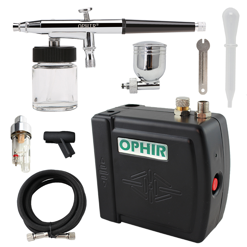 OPHIR 0.3mm Airbrush Kit met luchtcompressor Dual Action Air-brush Gun Paint voor Cake Decorating / Nail Art / Makeup / Body Tattoo