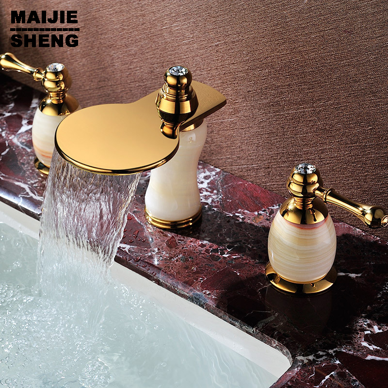 Double handle three holes basin faucet sink mixer tap water faucet bowlder jade tap golden antique mixer with diamond SD-T-002A antique brass three holes bathroom sink basin faucet mixer tap dual handle