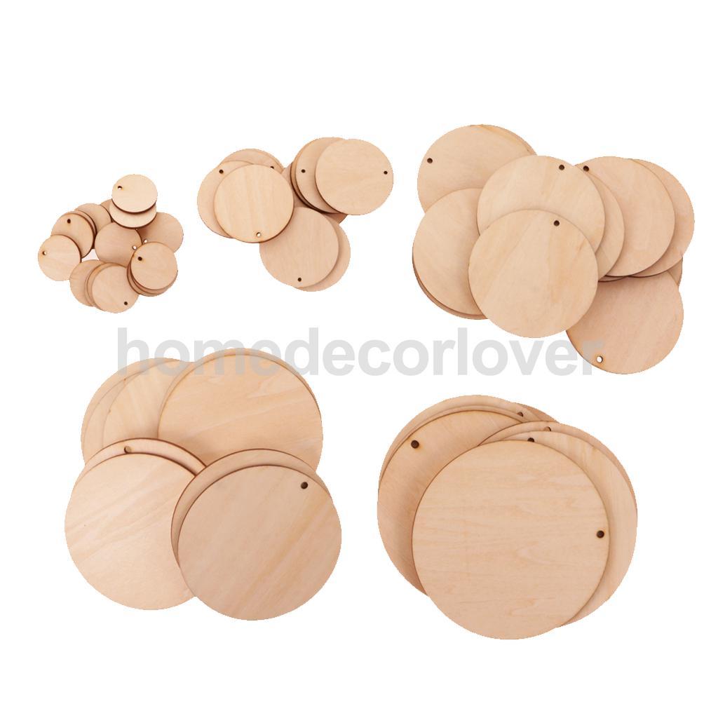 Viele Unfinished Ausschnitt Leere Holz Haarteile Scheibe Runde Hängender Geschenk Tags mit Loch für Hochzeit