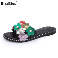 RizaBina Elegant Women Flats Sandals Beading Flower Open Toe Rivet Flats Slippers Holiday Club Shoes Woman