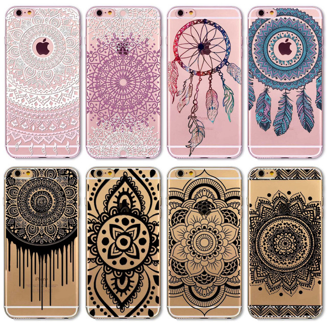 wholesale dealer 20525 80a24 US $1.23 49% OFF|2018 New Phone Case Cover For iPhone 6 6S Soft Silicon  Black Colorful Hollow transparent HENNA OJIBWE DREAM CATCHER Ethnic  Triba-in ...
