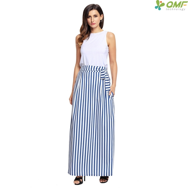 Blue Striped Boho Skirt Colorful Fashion Green Maxi Skirt Red England Style Long  Skirt Bohemian Plus Size Jupe Femme Casual