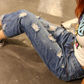 Women's Loose Ripped Jeans 2016 New Style Capris Girls Denim Jeans Plus Size 3XL 4XL 5XL Blue WM05