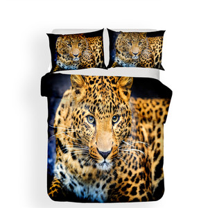 Image 2 - Zestaw pościeli 3D kołdra z nadrukiem pokrywa łóżko – zestaw Leopard tekstylia domowe dla dorosłych realistyczne pościel z poszewka na poduszkę # BZ01
