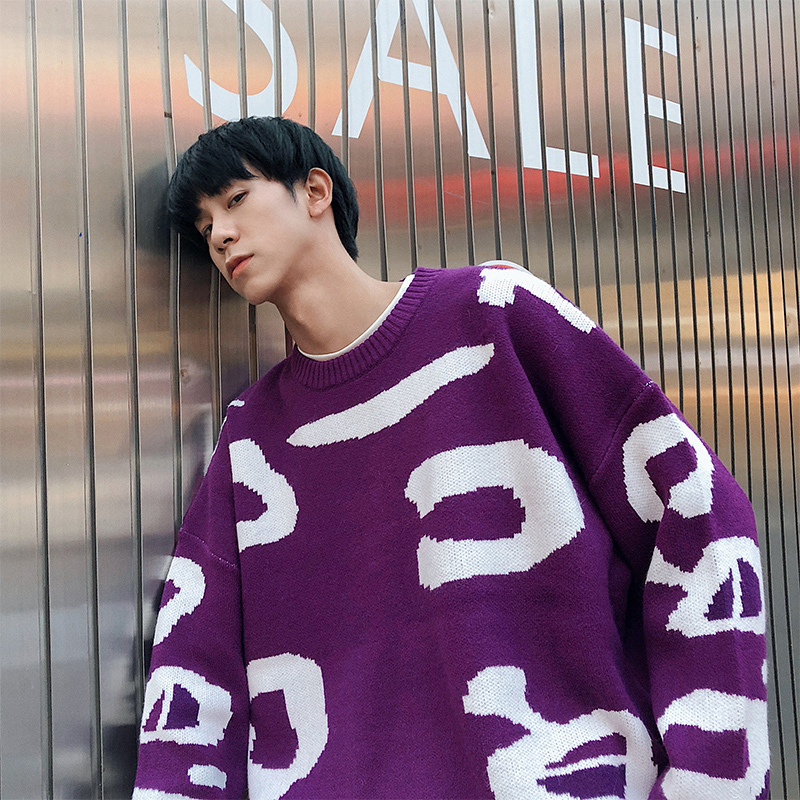 Winter New Sweater Men Fashion Printing Warm Casual O-neck Pullover Man Streetwear Trend Wild Hip-hop Loose Long-sleeved Sweater