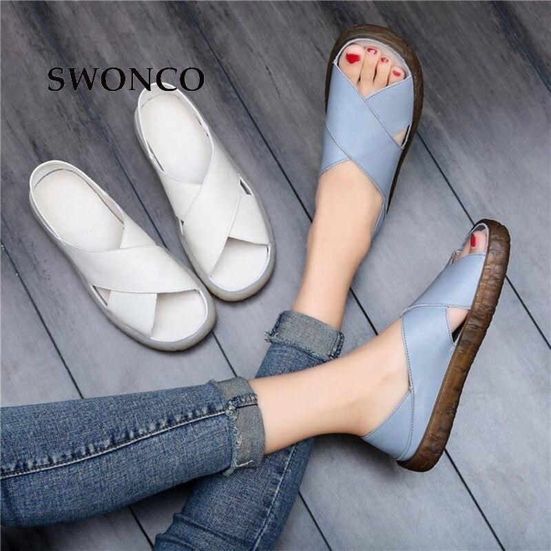 77b61d23e SWONCO Das Sandálias Das Mulheres 2019 Verão Mulheres Casuais Sapatos de  Couro Deslizar Sobre As Sandálias