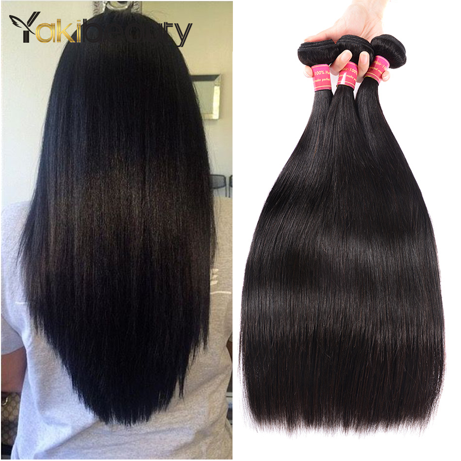 Malaysian Straight Human Hair Bundles 3pcs/lot Remy Hair Weave Bundles 8-28inch Mixed Length YakiBeauty Hair Extension Freeship