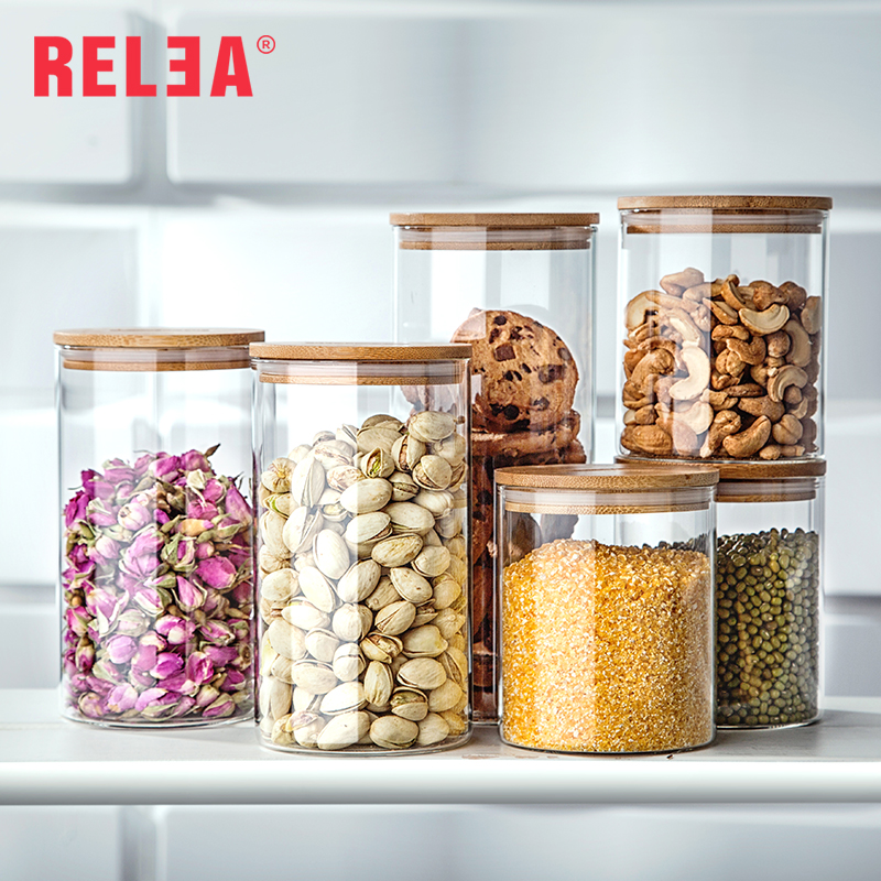 US $10.59 11% OFF|Transparent Glass jar Flowe Tea Food Storage Bottles  Sealed Cans Glass Storage Jars with Bamboo Cap Kitchen Storage  Organization-in ...