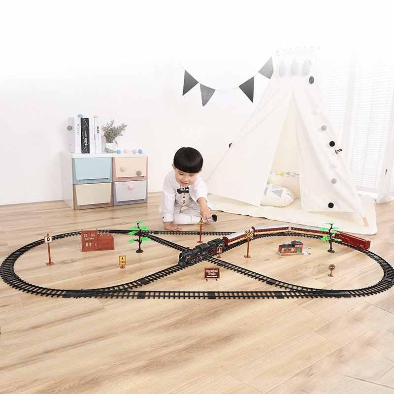 קלאסי מסלול רכבת רטרו קיטור רכבת חשמלי חדש מותג סימולציה עם אור גדול אוסף צעצוע לילדים חג המולד מתנות