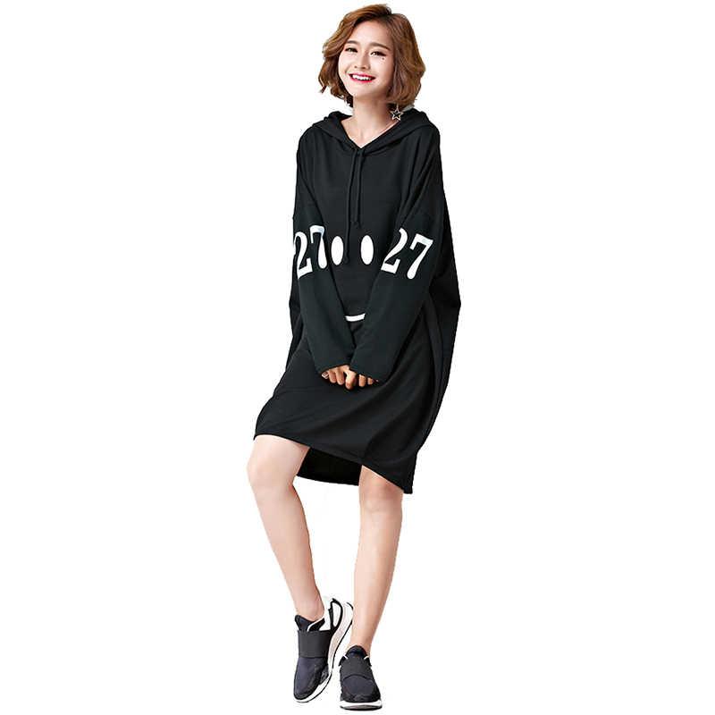 Oladivi 特大プラスサイズのファッションの女性を印刷フード付きドレス女性ロングトップ Tシャツカジュアルドレスチュニック Vestidos 7XL