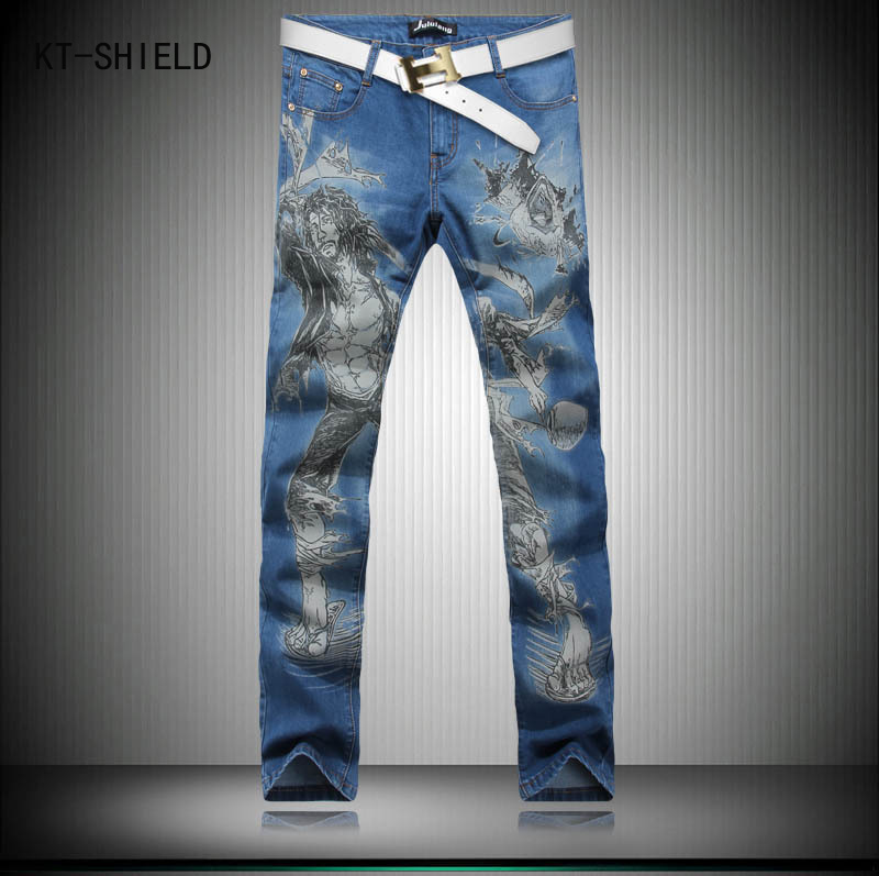 New Fashion Mens Skinny Jeans Ripped Print Denim  overalls Men Korean Style Stretch Male Trousers Slim Fit joggers cargo pants new brand 2017 mens skinny jeans mid waist male trousers patchwork cotton men s denim slim pants fashion ripped jeans for men