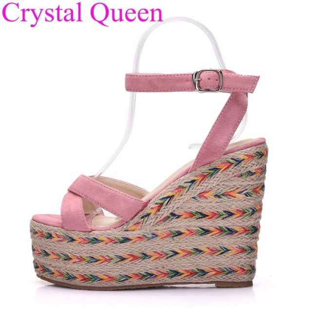 15ef258e456876 Crystal Queen 13cm pink shoes sandals summer wedges platform sandals high  heel sandals plus size women shoes beach sandals