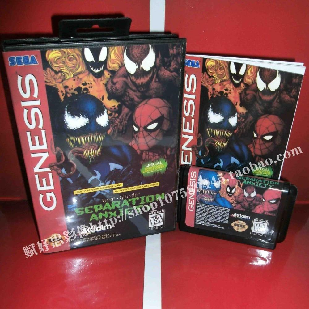 Spiderman Game cartridge with Box and Manual 16 bit MD card for Sega Mega Drive for Genesis