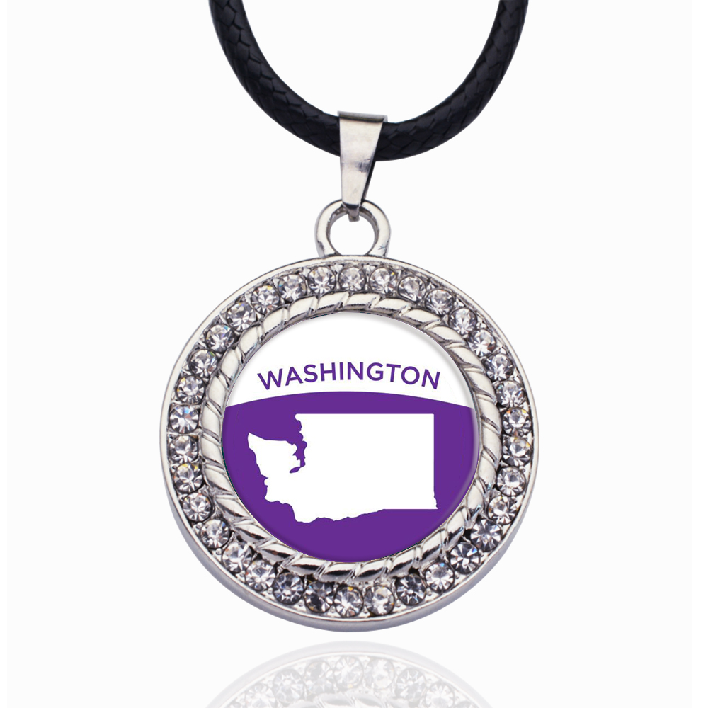 Washington Outline Circle Charm Crystal Pendant Necklace For Women Wedding Party Gift(China)