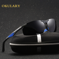2018 Men Rectangle Polarized Mirror Sunglasses Black/Brown Lens Color With Box,Case