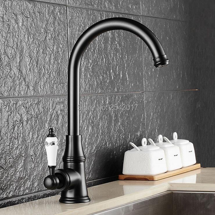 Bathroom Basin Faucets Hot and Cold Mixer Taps Black Bronze Ceramic Handle 360 Swivel Spout Basin