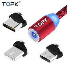 TOPK RLine1 светодиодный магнитный usb-кабель, 1 м и 2 м Магнитный USB type-C кабель и Micro usb кабель и USB кабель для iPhone X 8 7 6 Plus